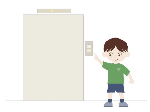 A child riding an elevator.