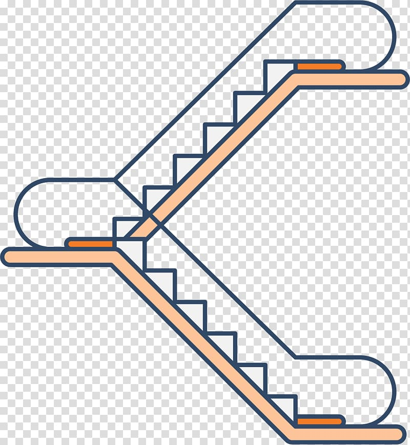 Escalator Stairs Elevator Icon, Two steps up and down the.