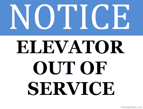 Elevator Out of Service.