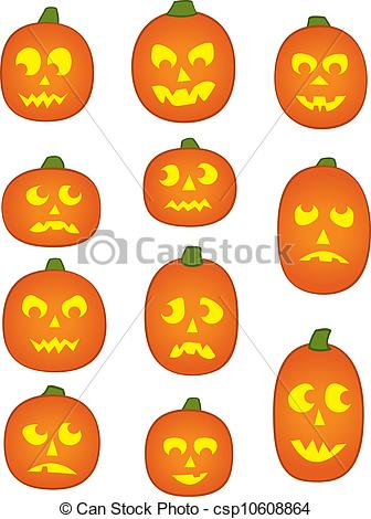 Clip Art Vector of Eleven Pumpkin Faces.
