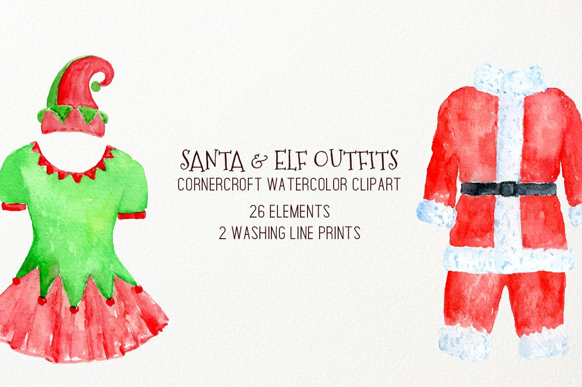 Watercolor Clipart Christmas Santa Outfit, Elf Outfit on Washing.