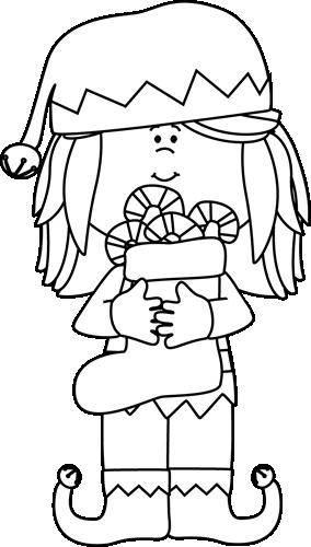 Black and White Black and White Girl Christmas Elf.