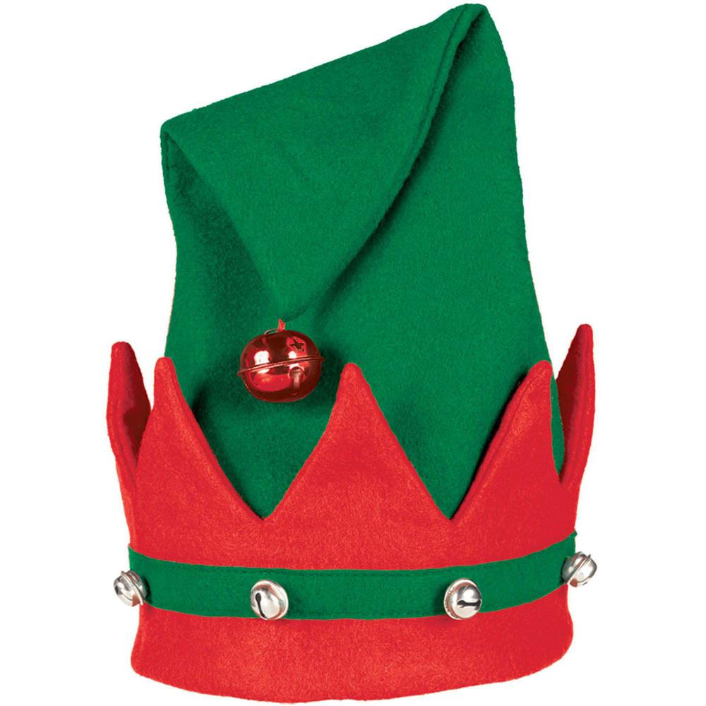 Amscan 15 in. x 11 in. Elf Christmas Hat with Bells (3.