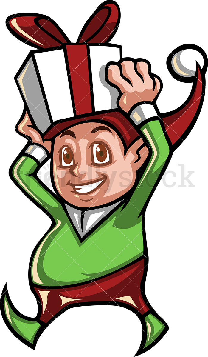 A Cute Christmas Elf Carrying A Present On His Head.