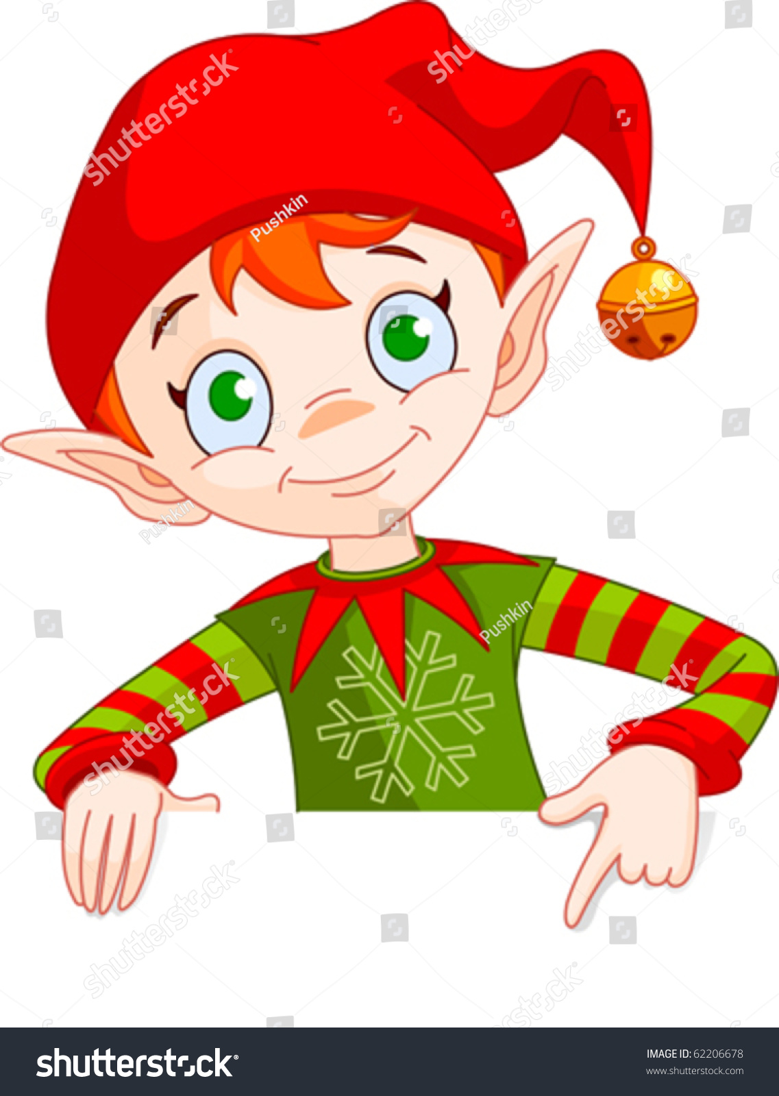 Clipart Illustration Christmas Elf Holding Pointing Stock Vector.