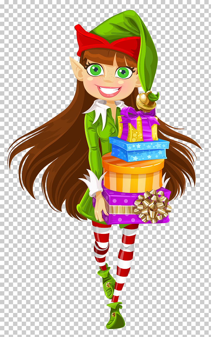 Santa Claus Christmas elf , Christmas Girl Elf with Gifts.