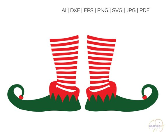 Elf Leg Christmas SVG, Clipart Digital Silhouette and cricut Cut.
