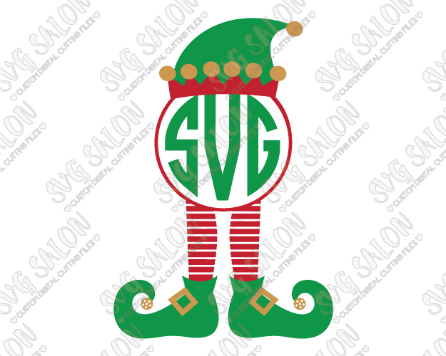 Elf Legs and Hat Monogram Cut File in SVG, EPS, DXF, JPEG, and PNG.