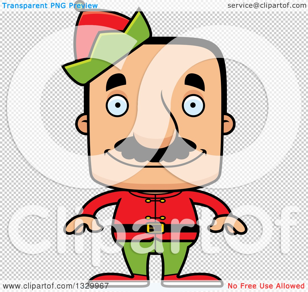Clipart of a Cartoon Happy Block Headed Hispanic Christmas Elf Man.