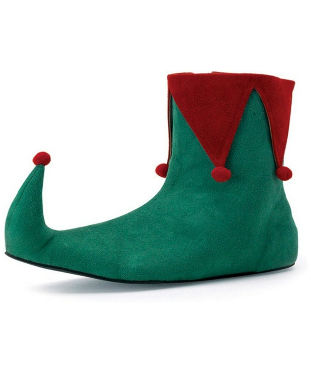Adult Red and Green Elf Shoes.