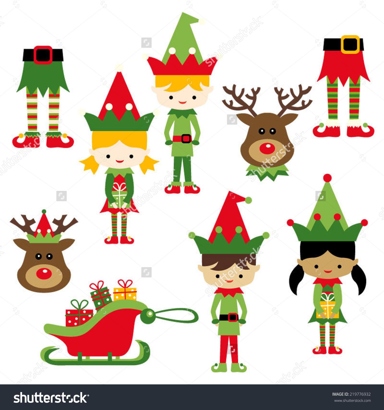 Kids Elf Costumes Cute Vector Clip Stock Vector 219776932.