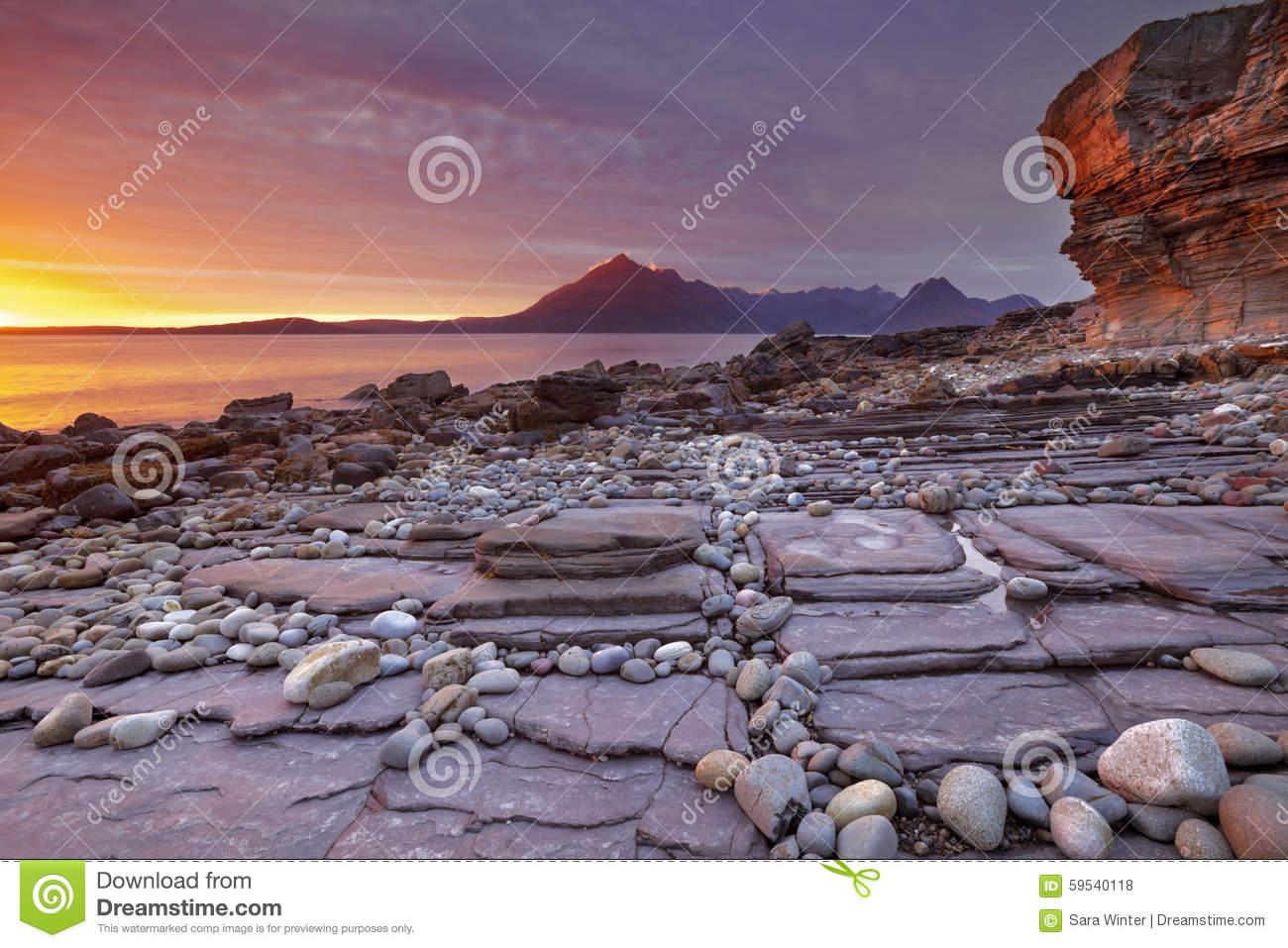 Sunset At The Beach Of Elgol, Isle Of Skye, Scotland Stock Photo.