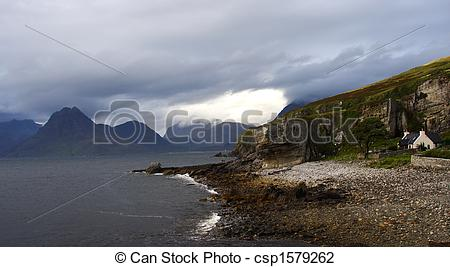 Stock Photo of Coastal landscape by a rainy and windy day. Elgol.