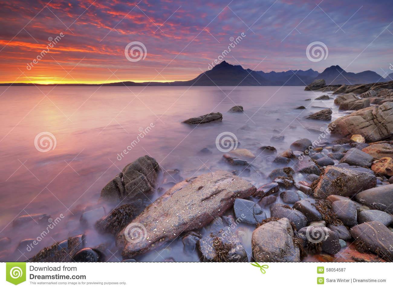 Sunset At The Elgol Beach, Isle Of Skye, Scotland Stock Photo.