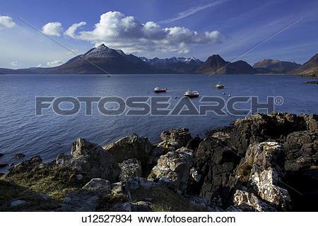 Stock Photo of Scotland, Isle of Skye, Elgol. A view across Loch.
