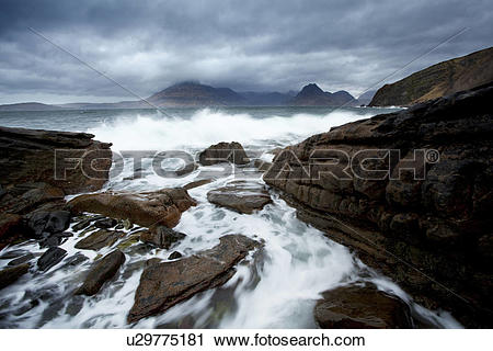 Stock Photography of Scotland, Isle of Skye, Elgol. Stormy weather.