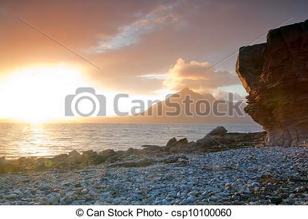 Stock Image of Sunset at Elgol Isle of Skye Highland Scotland.