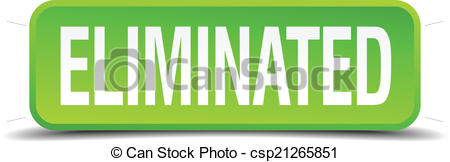 Clipart Vector of Eliminated green 3d realistic square isolated.