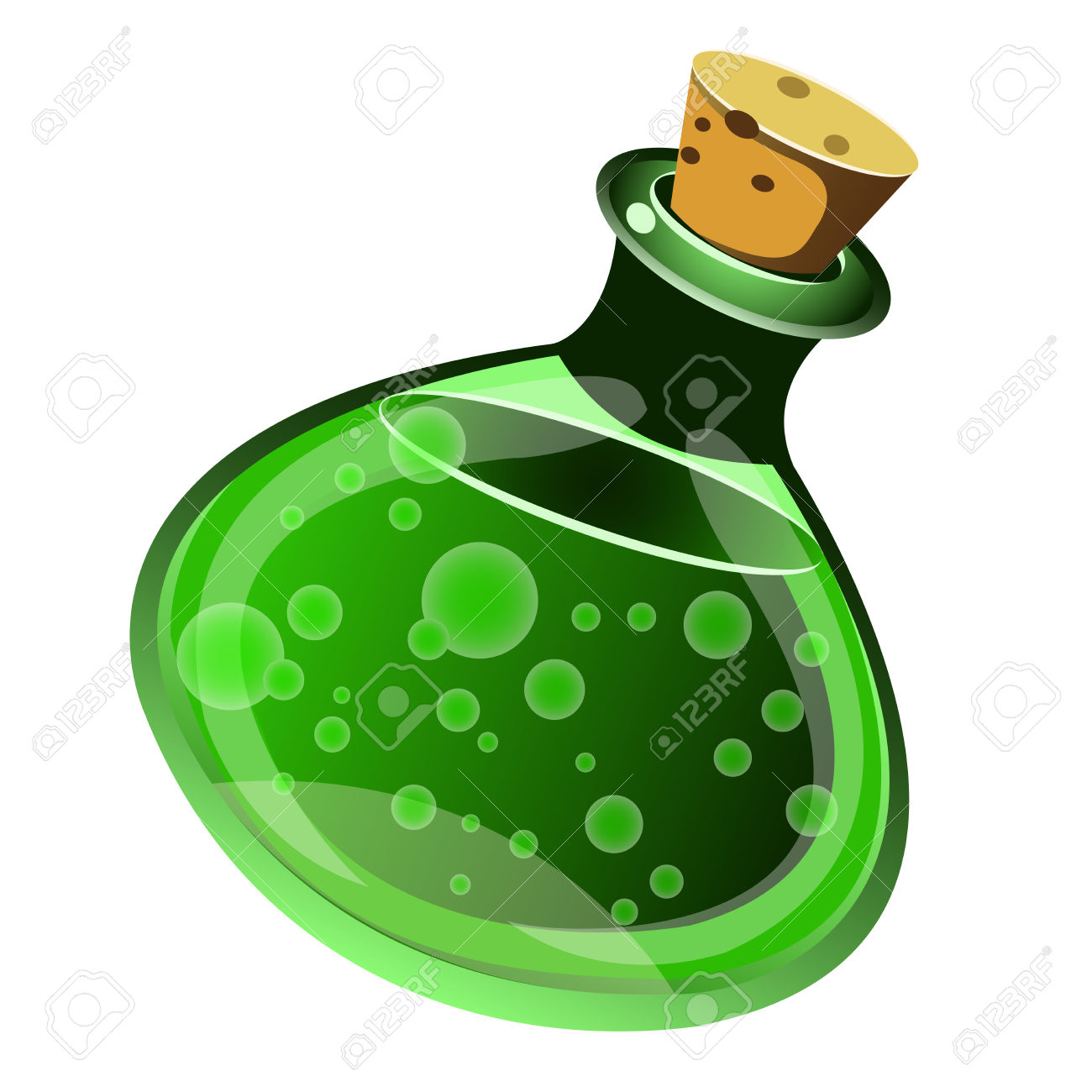 Magic Drink In A Bottle On White Background Royalty Free Cliparts.