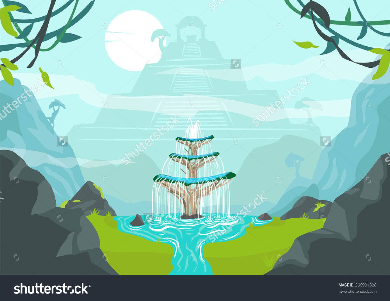 Lost City Fountain Youth Elixir Life Stock Vector 366901328.