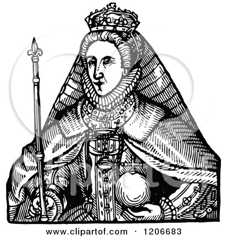 Clipart of Vintage Black and White Queen Elizabeth the First.