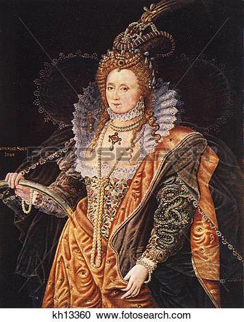Stock Photography of 1500S 1600S Color Portrait Queen Elizabeth I.