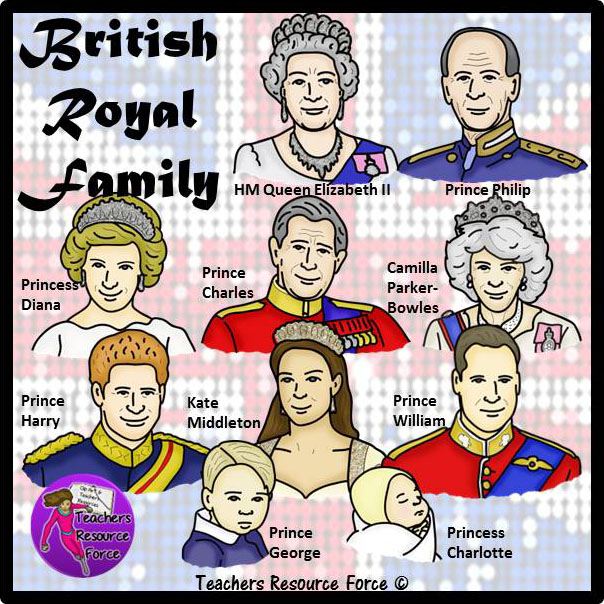 The British Royal Family Clip Art.