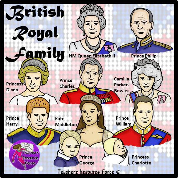 The British Royal Family Clip Art.