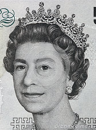 Queen Elizabeth II One Pound Note Royalty Free Stock Photography.