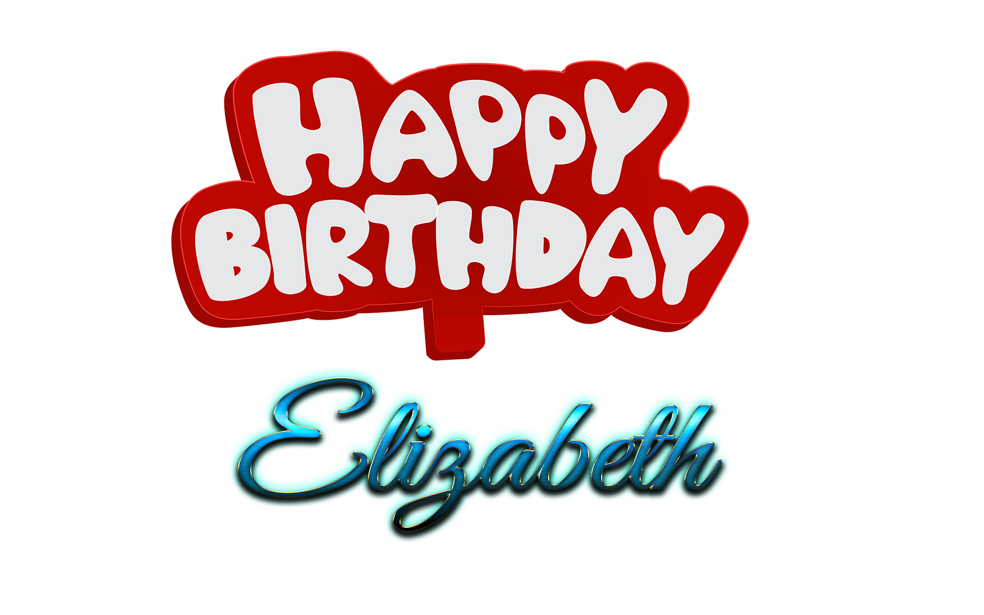 Elizabeth Happy Birthday Name Logo.