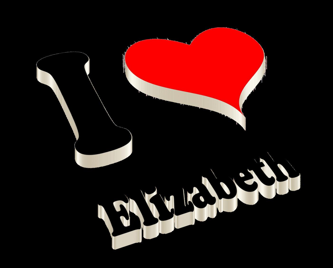 Elizabeth Heart Name Transparent PNG.