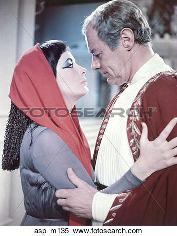 Stock Image of 1960S Elizabeth Taylor Rex Harrison As Cleopatra.