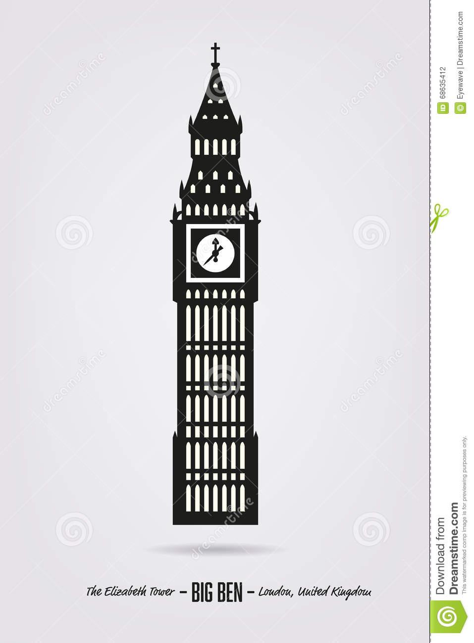 Big Ben, The Elizabeth Tower At London Stock Vector.