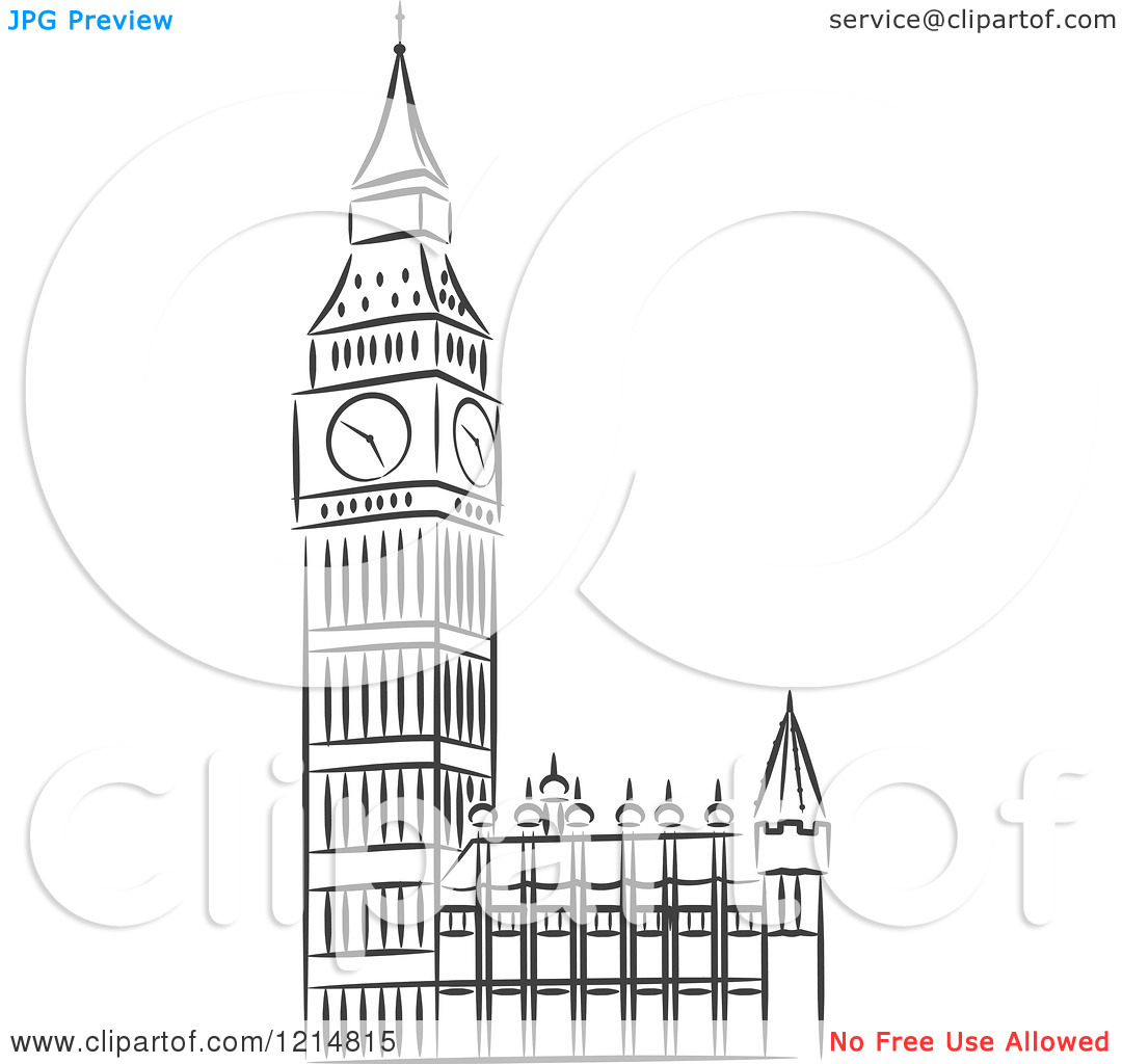 Clipart of a Black and White Sketched Big Ben Clock Tower.