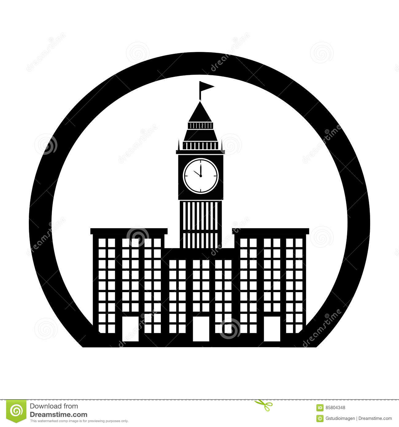 Monochrome Circle Contour With Buildings And Elizabeth Tower Stock.
