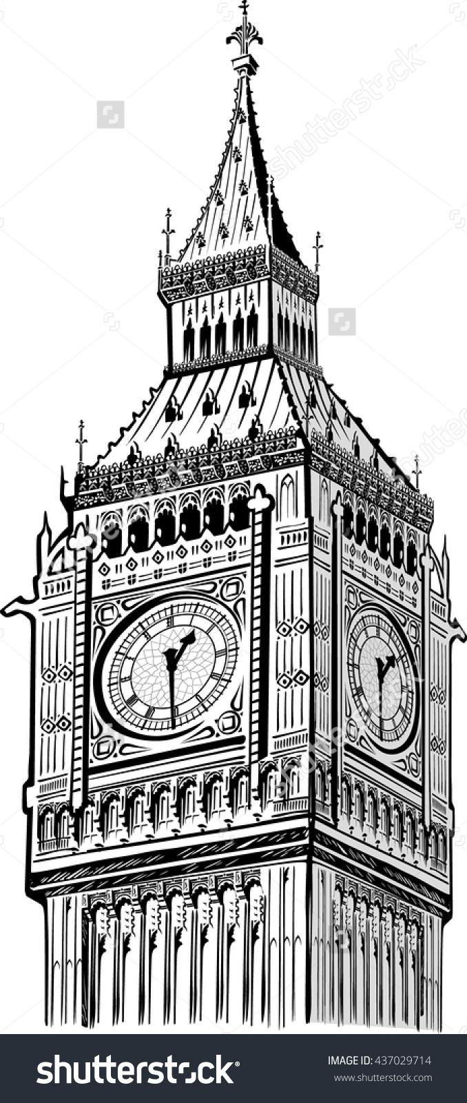 Detail Elizabeth Tower Big Ben Clock Stock Vector 437029714.