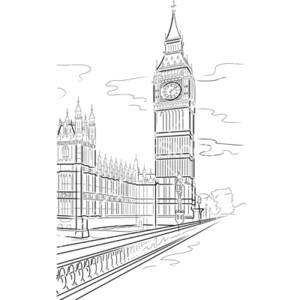 Drawing big ben of tower in london uk vector.