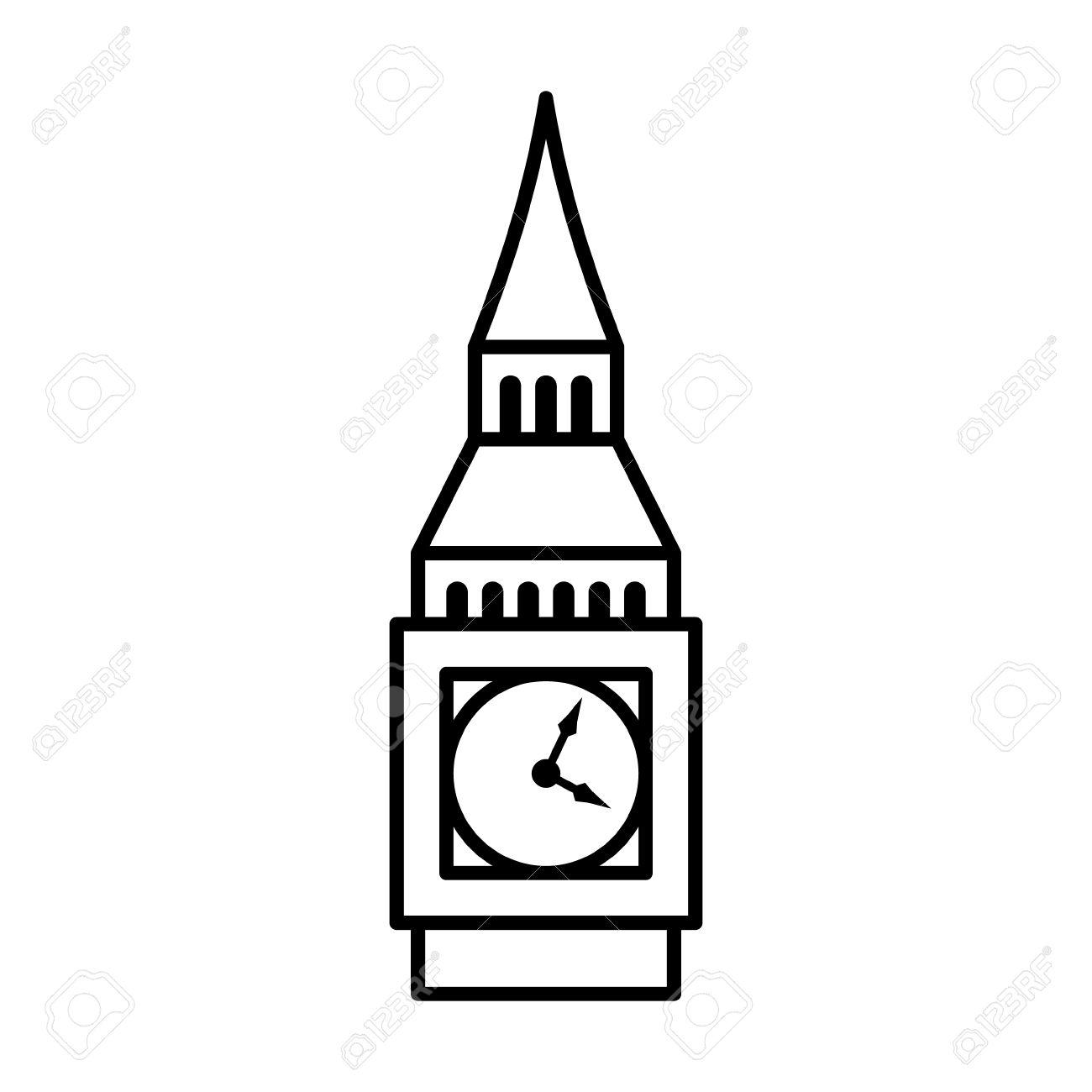 Big Ben Clock Tower Elizabeth Tower In London Line Art Icon.