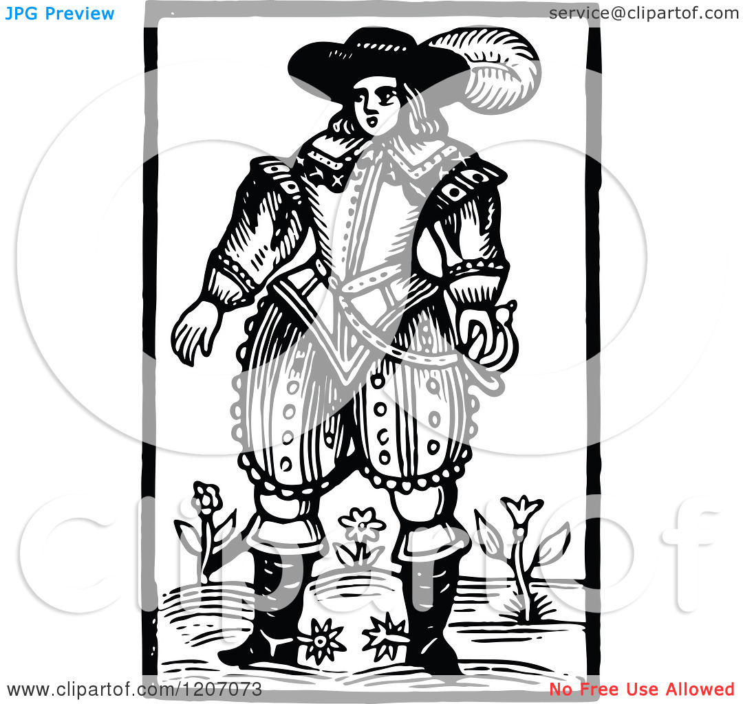 Clipart of a Vintage Black and White Elizabethan Man.