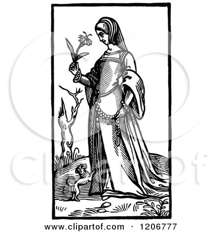 Clipart of a Vintage Black and White Elizabethan Woman.