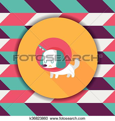 Clipart of Pet Elizabethan collar flat icon with long shadow,eps10.