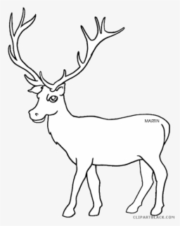 Free Elk Black And White Clip Art with No Background.
