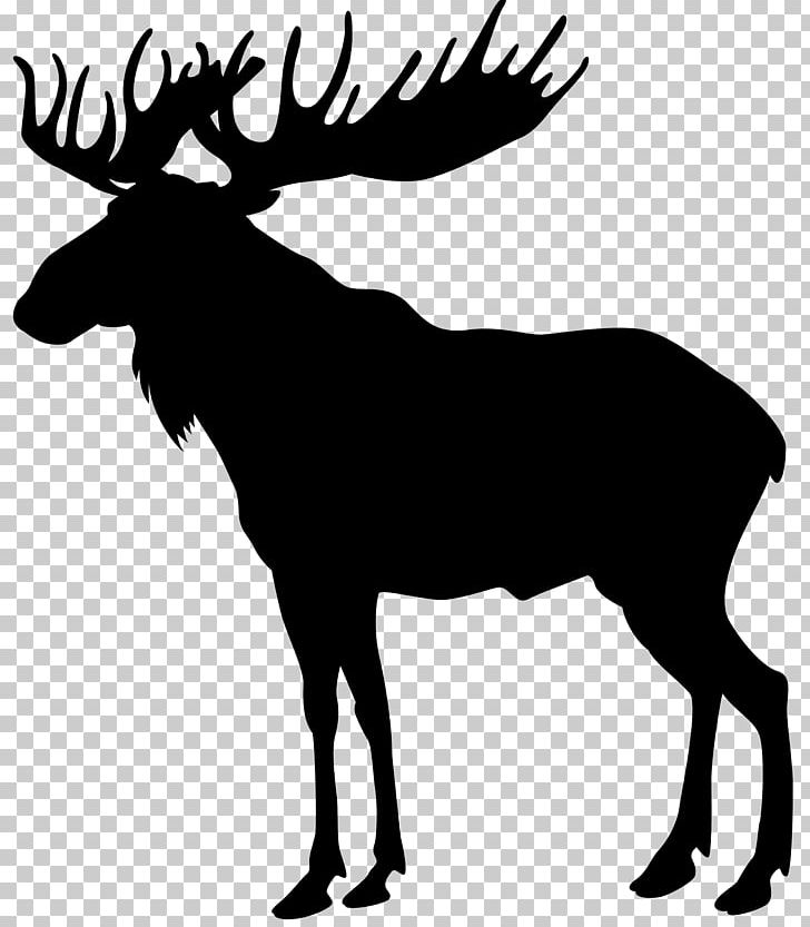 Moose Deer Elk Silhouette PNG, Clipart, Antler, Black And White.