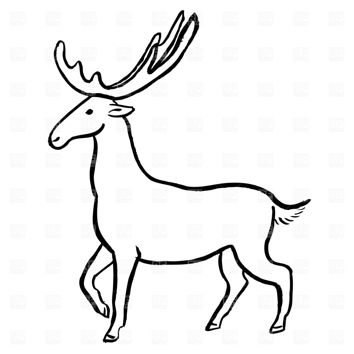 Elk Clipart Black And White.