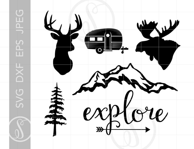 Camping Hunting SVG Clip Art Cut Files.