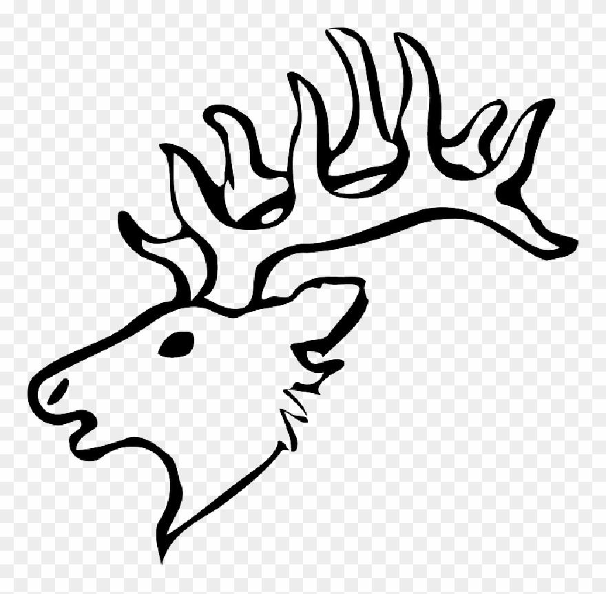 Head, Silhouette, Face, Skull, Cartoon, Deer, Heads.