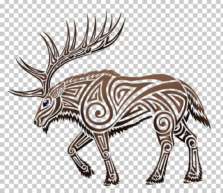 Elk Deer Moose Tattoo PNG, Clipart, Animals, Antler, Art, Black And.