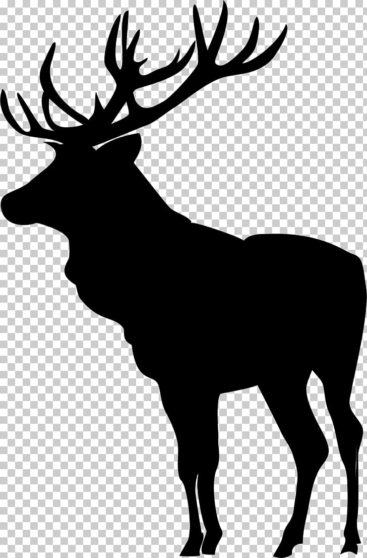 Elk Deer Moose Silhouette , deer head PNG clipart.