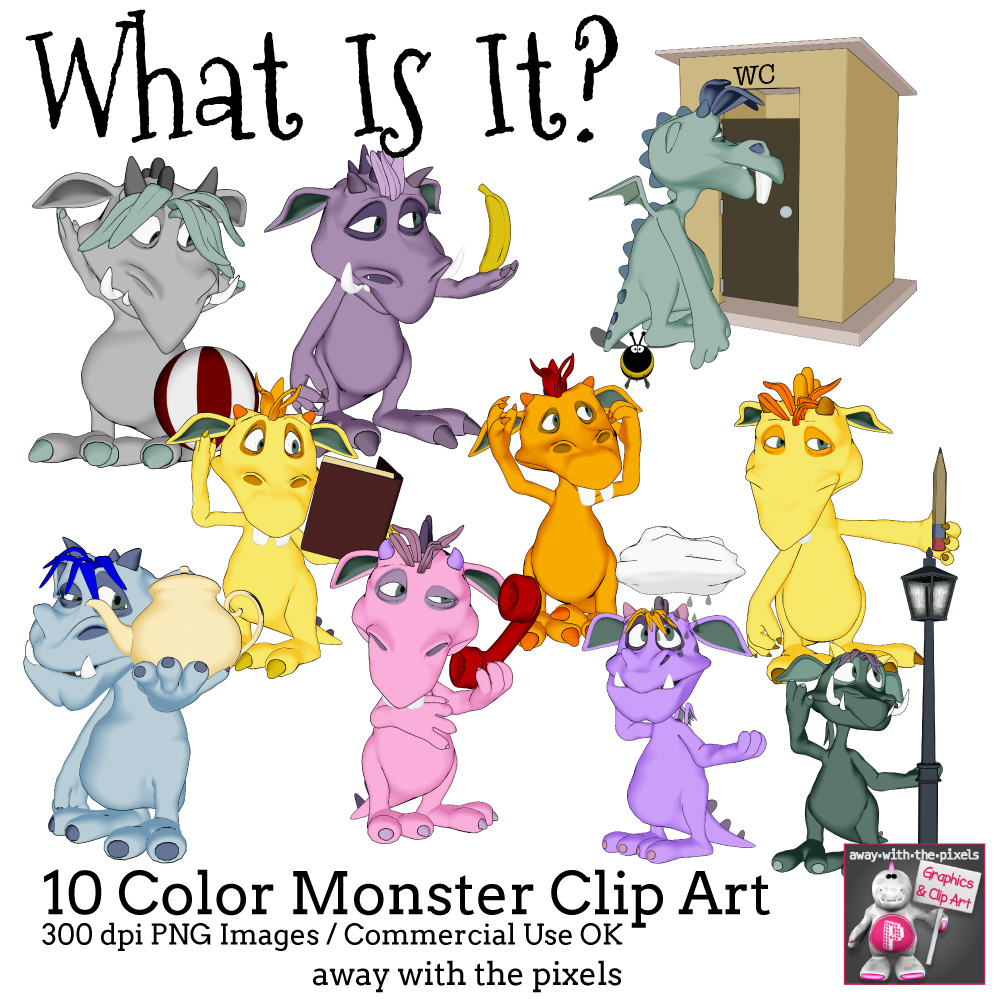 What Is It? Monsters Clipart For ESL, ELL.