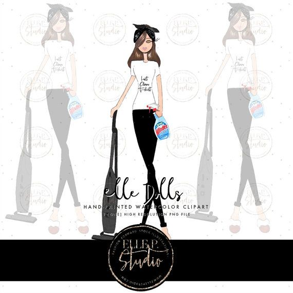 Cleaning Themed Elle P. Doll / Super Mom clipart / Girl.